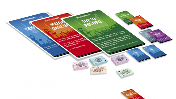 Game elements of Connected™; posters, cards and money